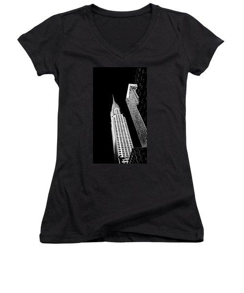 Chrysler Nights Women's V-Neck T-Shirt (Junior Cut) by Az Jackson