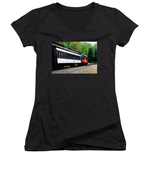 Chugging Along Women's V-Neck T-Shirt (Junior Cut) by RC DeWinter