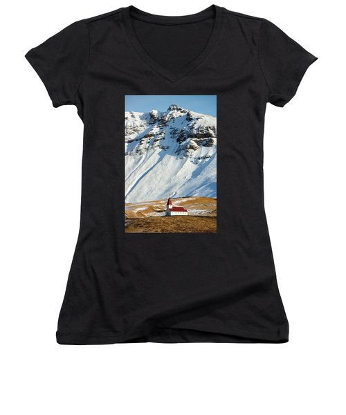 Women's V-Neck T-Shirt featuring the photograph Church And Mountains In Winter Vik Iceland by Matthias Hauser