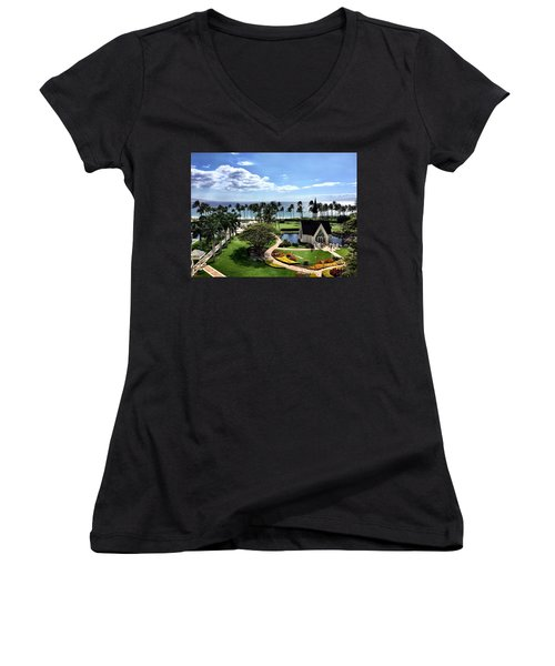 Women's V-Neck T-Shirt (Junior Cut) featuring the photograph Church In Paradise by Michael Albright