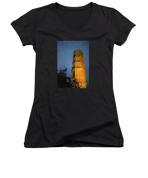 Women's V-Neck T-Shirt (Junior Cut) featuring the photograph Church Steeple by Jean Bernard Roussilhe
