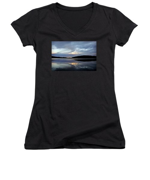 Women's V-Neck T-Shirt (Junior Cut) featuring the photograph Churning Clouds At Sunrise by Chris Berry