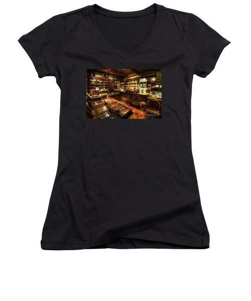 Cigar Shop Women's V-Neck (Athletic Fit)