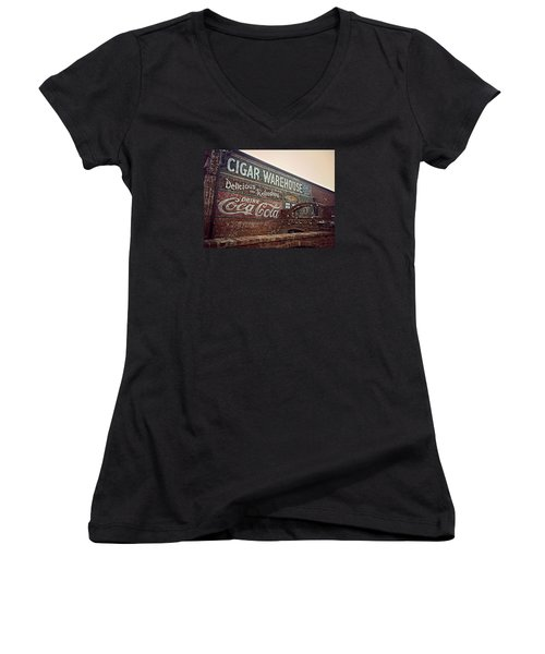 Cigar Warehouse Greenville Sc Women's V-Neck T-Shirt (Junior Cut) by Kathy Barney