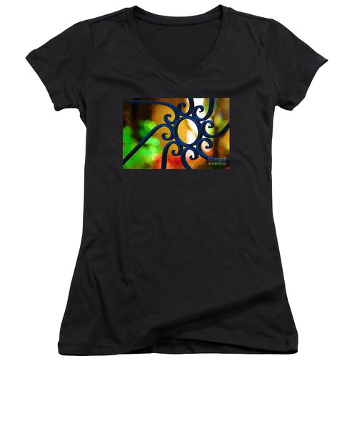 Circle Design On Iron Gate Women's V-Neck T-Shirt (Junior Cut) by Donna Bentley