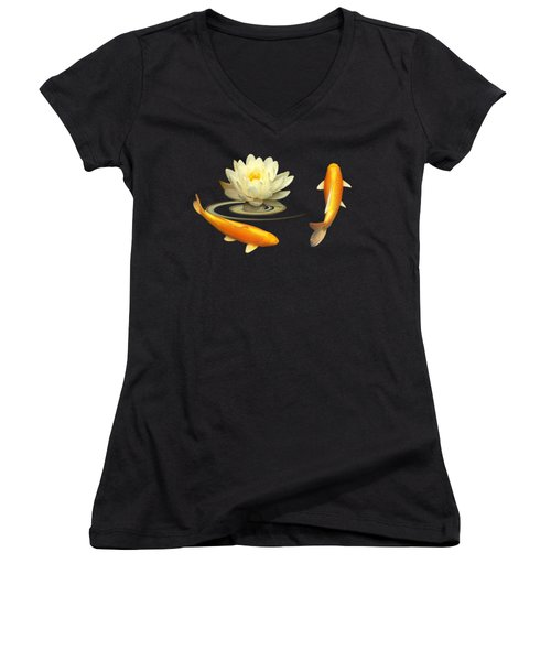 Circle Of Life - Koi Carp With Water Lily Women's V-Neck