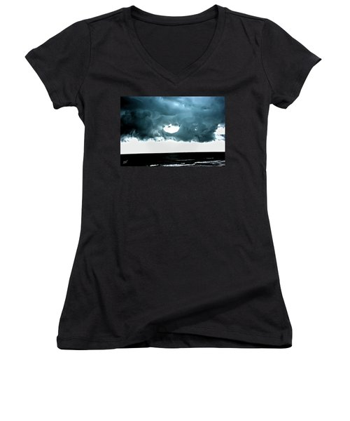 Circle Of Storm Clouds Women's V-Neck (Athletic Fit)
