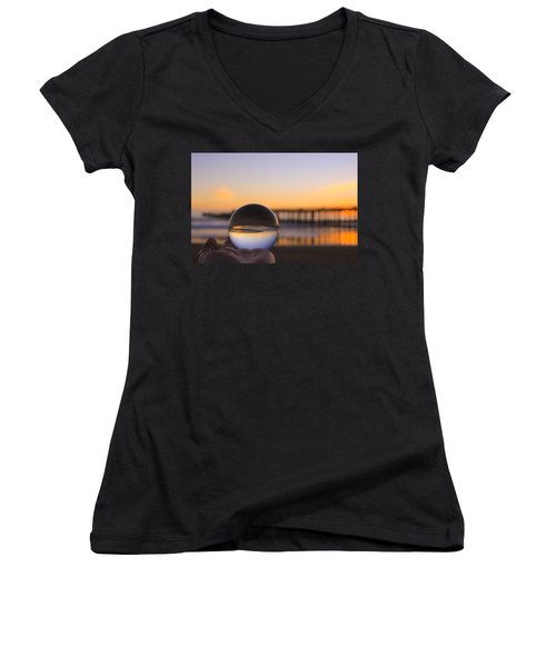 Women's V-Neck T-Shirt featuring the photograph Circles by Lora Lee Chapman