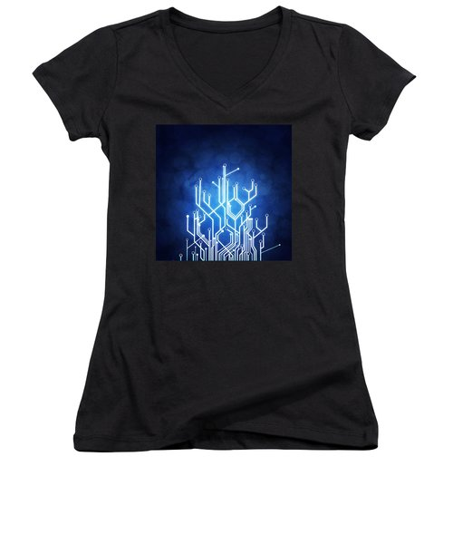 Circuit Board Technology Women's V-Neck T-Shirt (Junior Cut) by Setsiri Silapasuwanchai