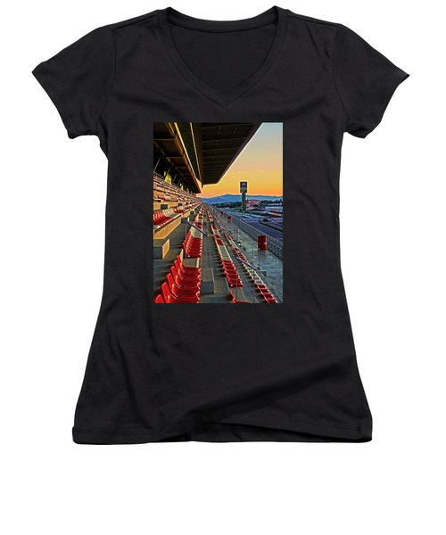 Circuit De Catalunya - Barcelona  Women's V-Neck T-Shirt (Junior Cut) by Juergen Weiss