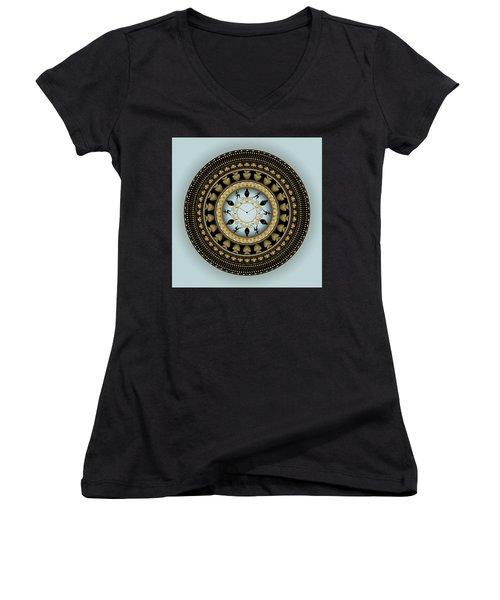 Women's V-Neck T-Shirt (Junior Cut) featuring the digital art Circularium No 2658 by Alan Bennington