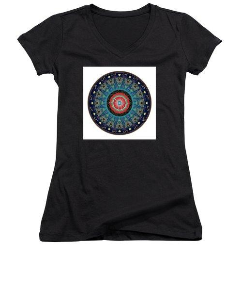 Women's V-Neck T-Shirt (Junior Cut) featuring the digital art Circularium No 2661 by Alan Bennington