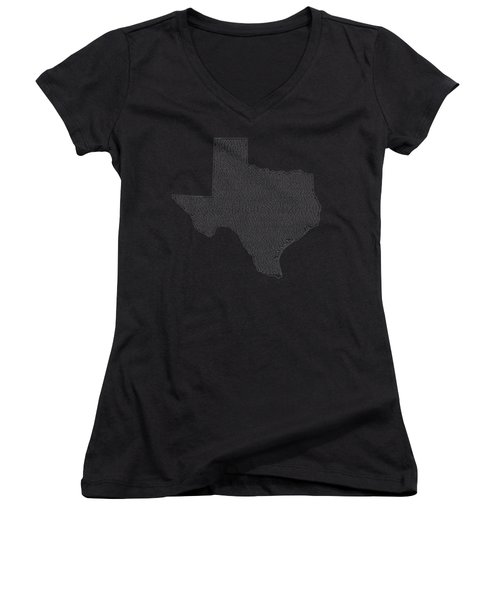 Cities And Towns In Texas White Women's V-Neck T-Shirt (Junior Cut) by Custom Home Fashions