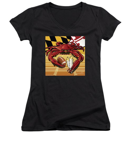 Citizen Crab Redskin, Maryland Crab Celebrating Washington Redskins Football Women's V-Neck (Athletic Fit)