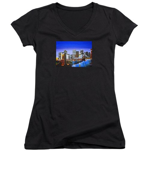 City At Twilight Women's V-Neck T-Shirt