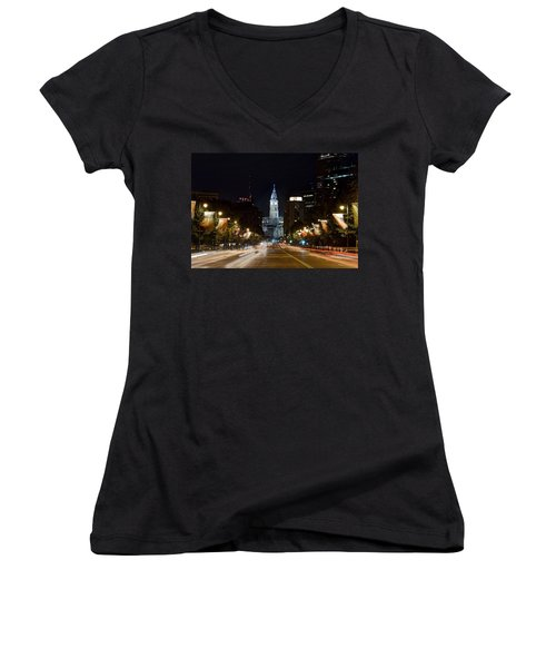 City Hall From The Parkway Women's V-Neck T-Shirt (Junior Cut) by Jennifer Ancker