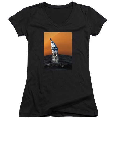 Women's V-Neck T-Shirt (Junior Cut) featuring the photograph City Hall Melt by Christopher Woods