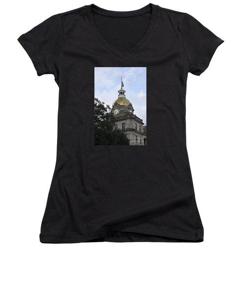 Women's V-Neck T-Shirt (Junior Cut) featuring the photograph City Hall Savannah by Judy Wolinsky