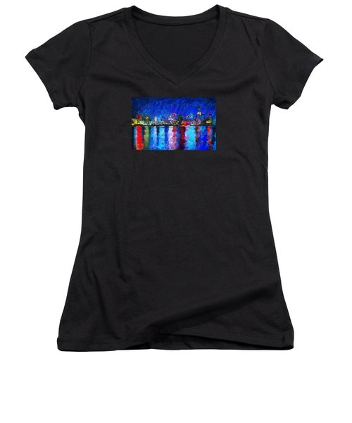 City Limits Tokyo Women's V-Neck T-Shirt (Junior Cut) by Sir Josef - Social Critic - ART