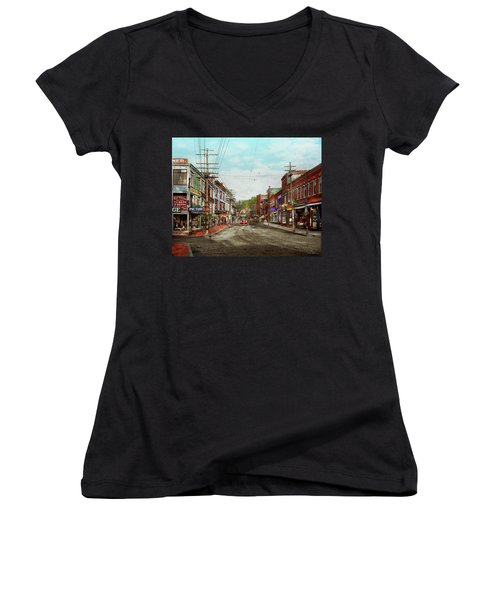 Women's V-Neck T-Shirt featuring the photograph City - Ma Glouster - A Little Bit Of Everything 1910 by Mike Savad