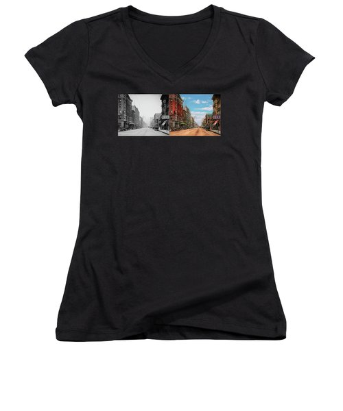 Women's V-Neck T-Shirt (Junior Cut) featuring the photograph City - Memphis Tn - Main Street Mall 1909 - Side By Side by Mike Savad