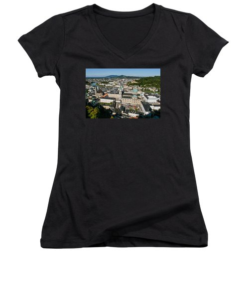 Women's V-Neck T-Shirt (Junior Cut) featuring the photograph City Of Salzburg by Silvia Bruno