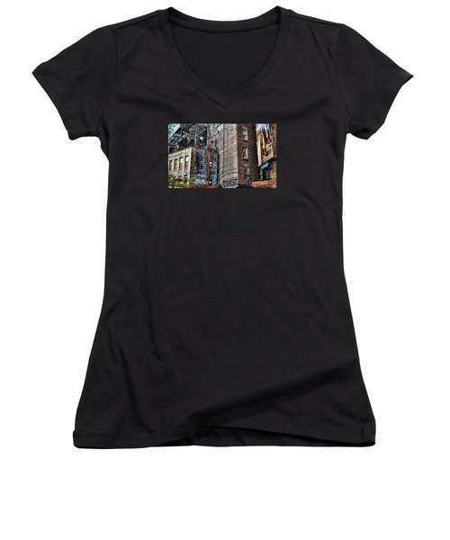 City Scenes Nyc Women's V-Neck T-Shirt (Junior Cut) by Steve Archbold