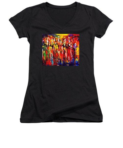 City. Series Colorscapes. Women's V-Neck T-Shirt (Junior Cut) by Helen Kagan