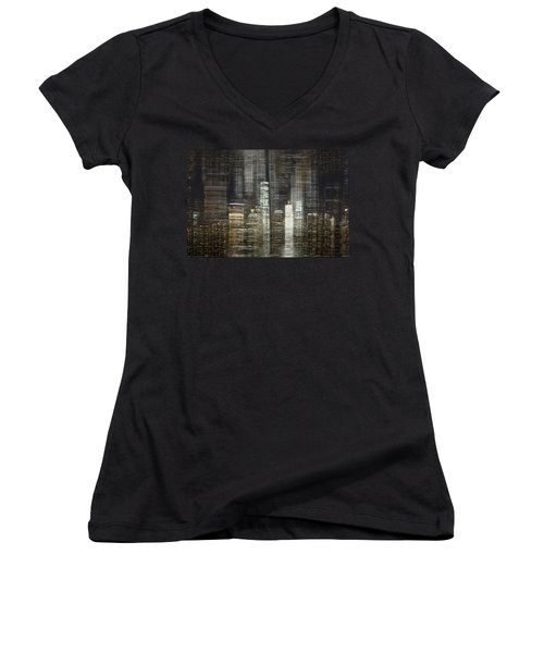 City Tetris Women's V-Neck T-Shirt