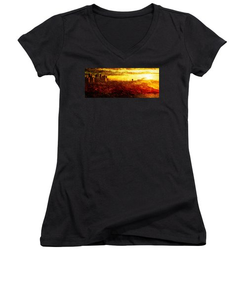 Women's V-Neck T-Shirt (Junior Cut) featuring the digital art Cityscape Sunset by Andrea Barbieri