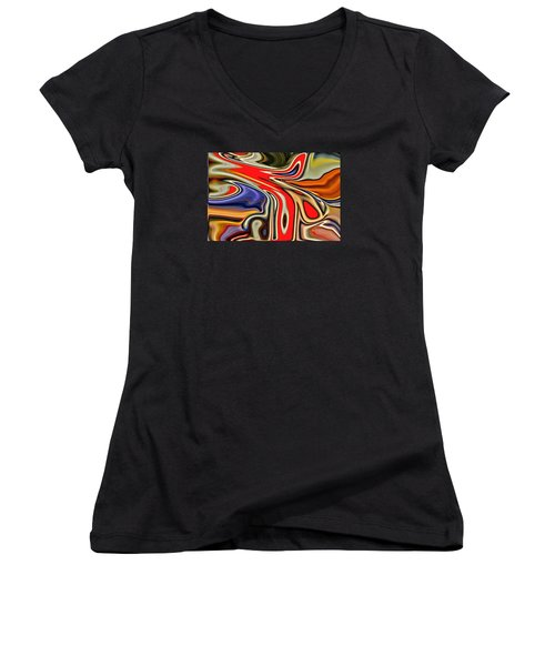 Women's V-Neck T-Shirt (Junior Cut) featuring the photograph Clamor by Nick David