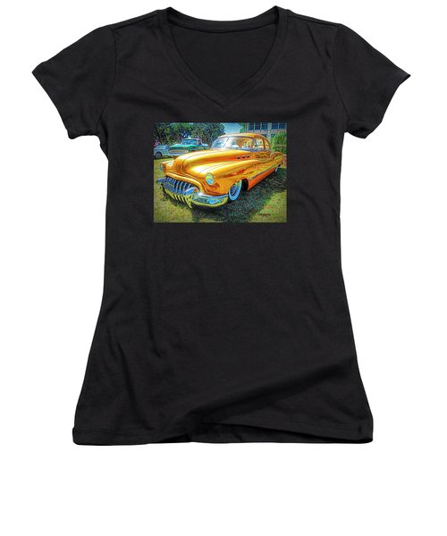 Classic Fifties Buick - Cruising The Coast Women's V-Neck (Athletic Fit)