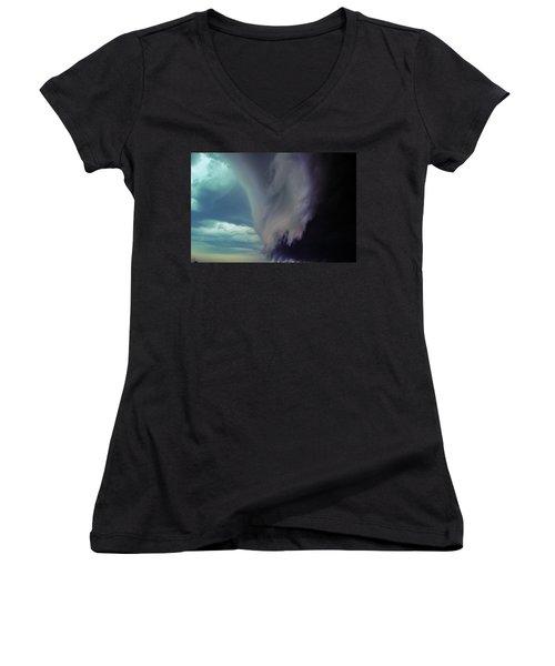 Classic Nebraska Shelf Cloud 029 Women's V-Neck T-Shirt