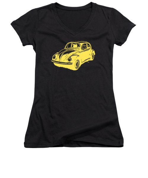 Classic Vw Beetle Tee Yellow Ink Women's V-Neck T-Shirt (Junior Cut) by Edward Fielding
