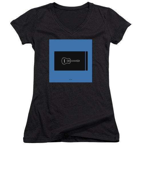 Classical Guitar In Blue Women's V-Neck T-Shirt (Junior Cut) by David Bridburg