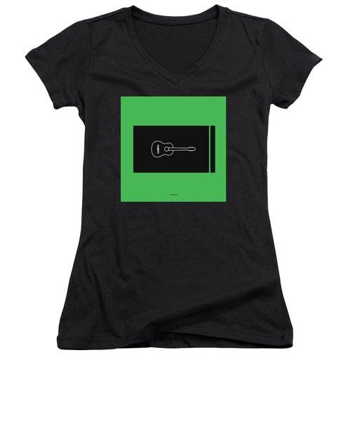 Classical Guitar In Green Women's V-Neck T-Shirt (Junior Cut) by David Bridburg