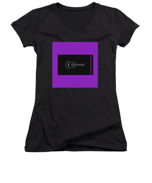 Classical Guitar In Purple Women's V-Neck T-Shirt (Junior Cut) by David Bridburg
