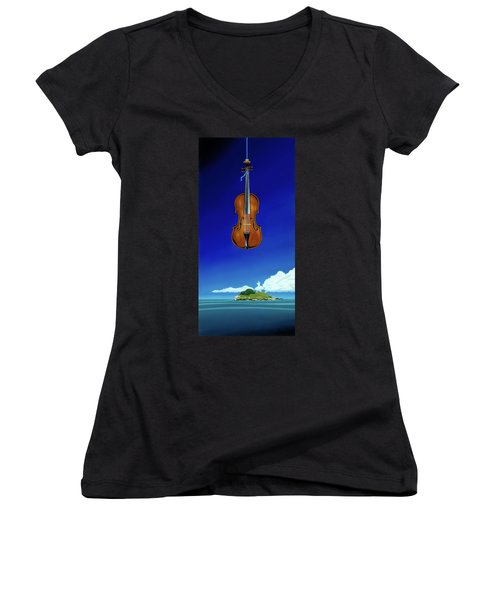 Classical Seascape Women's V-Neck (Athletic Fit)