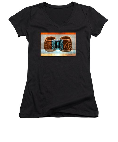 Women's V-Neck T-Shirt (Junior Cut) featuring the digital art Classsic Designs Of The Southwest by David Lee Thompson