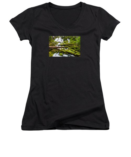 Clearwater Falls And Rapids Women's V-Neck T-Shirt (Junior Cut) by Greg Nyquist