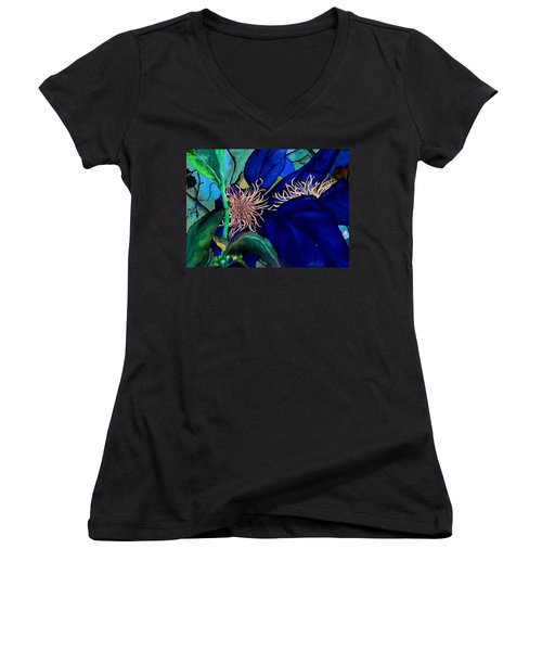 Clematis Regal In Purple And Blue Sold Women's V-Neck T-Shirt