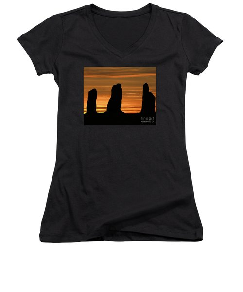 Clent Hills Sunset Women's V-Neck T-Shirt (Junior Cut) by Stephen Melia