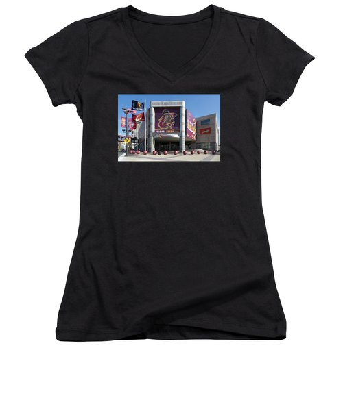 Women's V-Neck featuring the photograph Cleveland Cavaliers The Q by Dale Kincaid