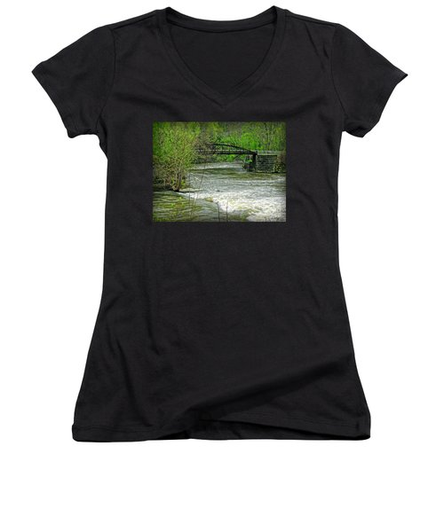 Cleveland Metropark Bridge Women's V-Neck T-Shirt (Junior Cut) by Joan  Minchak