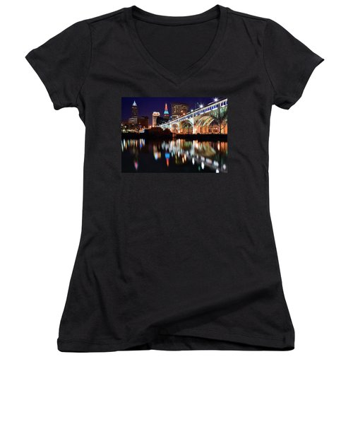 Cleveland Ohio Skyline Women's V-Neck T-Shirt (Junior Cut) by Frozen in Time Fine Art Photography