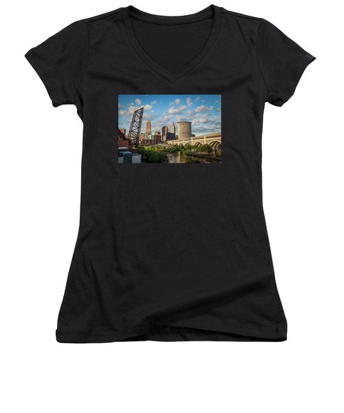 Cleveland Summer Skyline  Women's V-Neck (Athletic Fit)