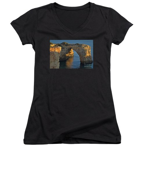 Cliff Arch In Albandeira Beach During Sunset 2 Women's V-Neck T-Shirt (Junior Cut) by Angelo DeVal