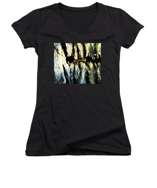 Women's V-Neck T-Shirt (Junior Cut) featuring the photograph Cliff Dwellings by Lenore Senior