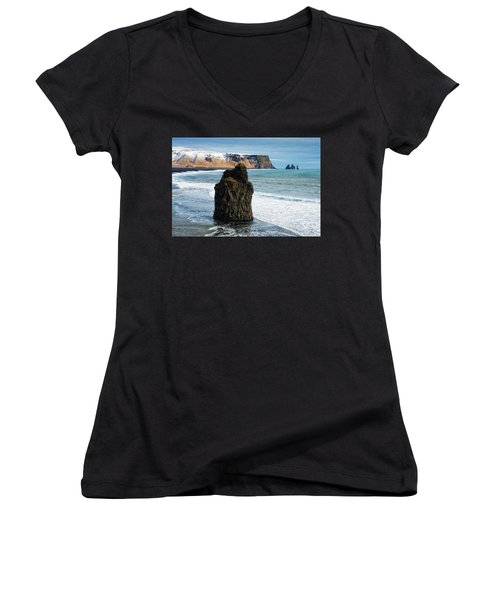 Women's V-Neck T-Shirt featuring the photograph Cliffs And Ocean In Iceland Reynisfjara by Matthias Hauser