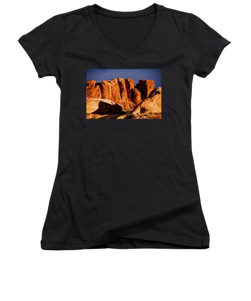 Cliffs In Valley Of Fire State Park, Nv Women's V-Neck (Athletic Fit)